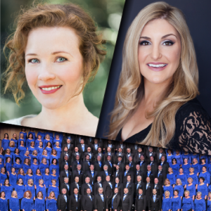 Singers Sasha Cooke and Julie Adams with the American Festival Chorus