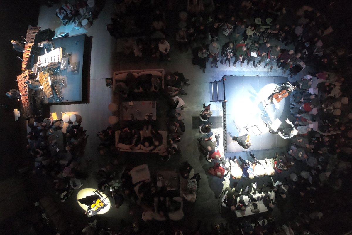 looking down at audience