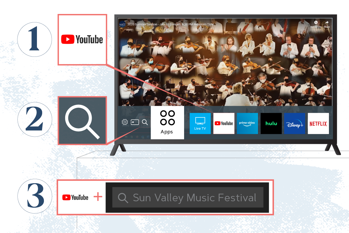 Use a smart TV YouTube app to find the concerts