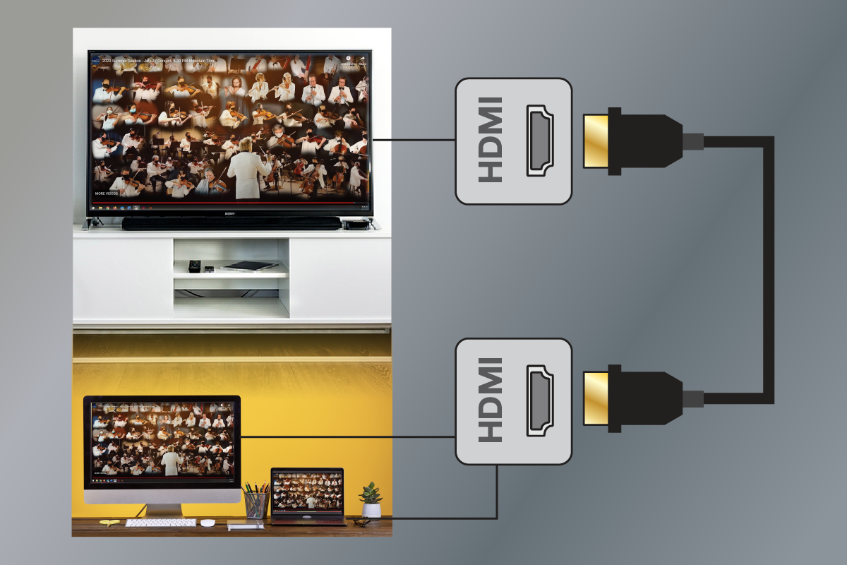 Plug your computer into your TV with an HDMI cable